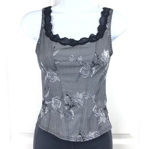 Arianne Floral Corset Style Top Gray Black Sz S
